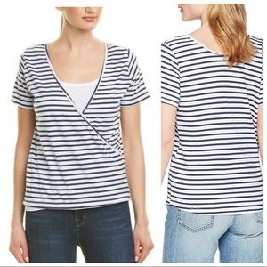 New Monrow Women's Stripe Crossover Front Tee